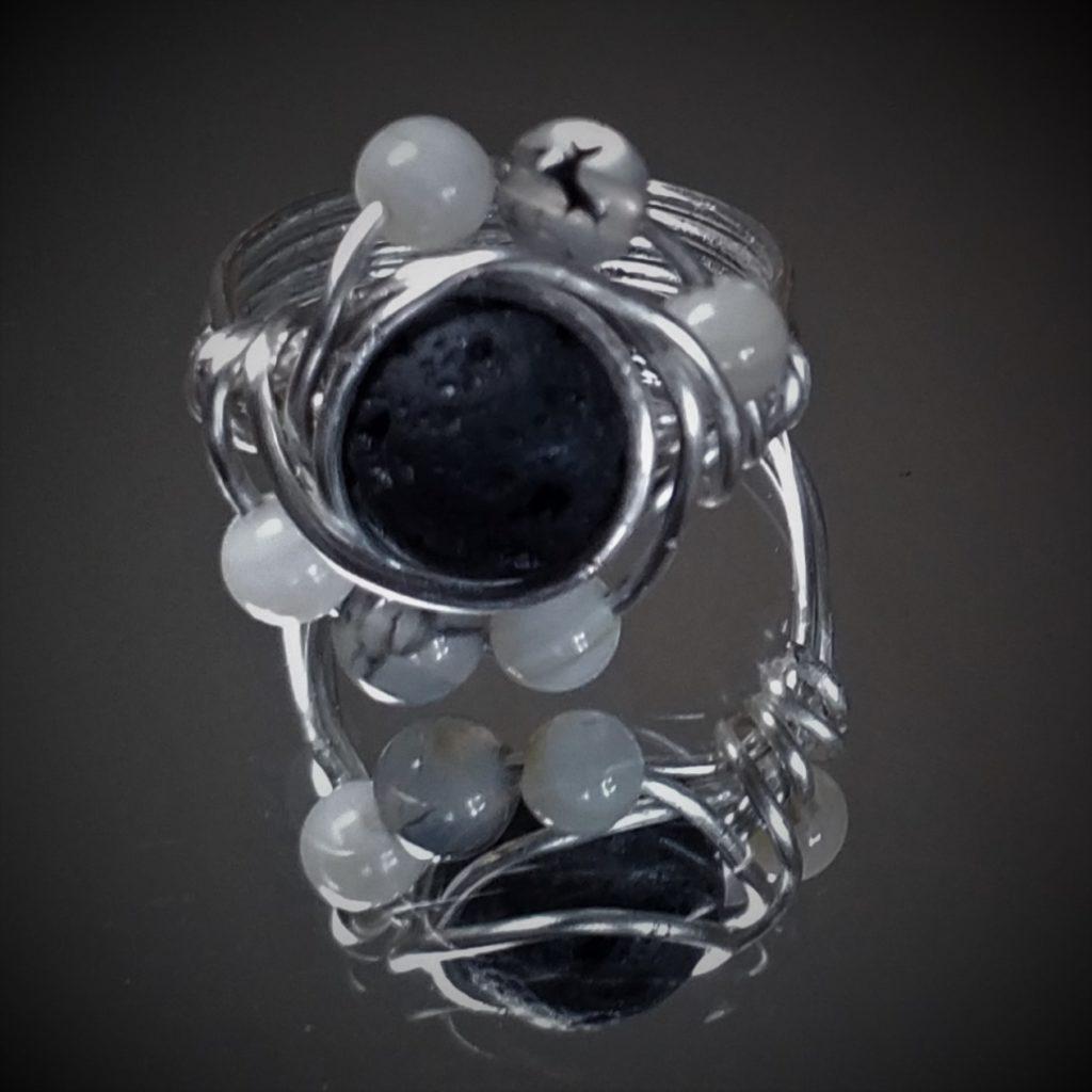 Silver Wiring Lava Rock Ring
